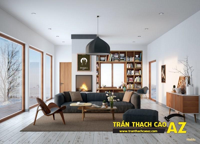 Mẫu trần thạch cao phòng khách nhà ống theo kiểu trần phẳng 04