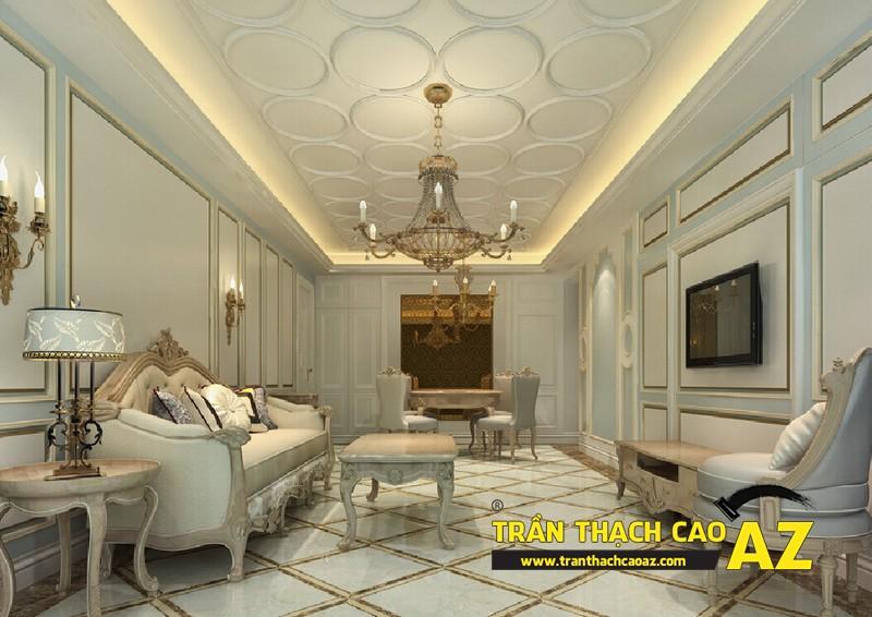 Mẫu trần thạch cao phòng khách nhà ống theo kiểu trần giật cấp cổ điển - tân cổ điển 04
