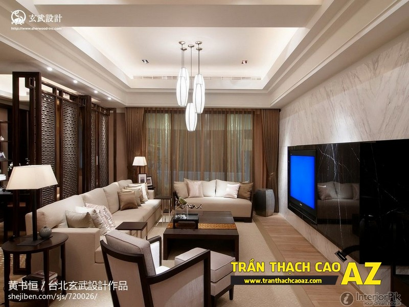 Mẫu trần thạch cao phòng khách nhà ống theo kiểu trần giật cấp hiện đại 02