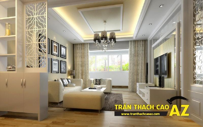Mẫu trần thạch cao phòng khách nhà ống theo kiểu trần giật cấp hiện đại 04