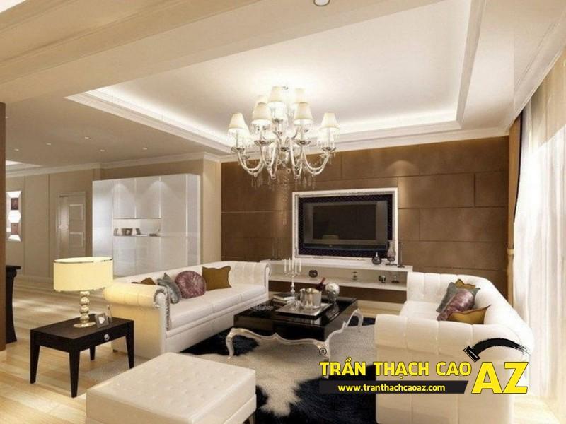 Mẫu trần thạch cao phòng khách nhà ống theo kiểu trần giật cấp hiện đại 05