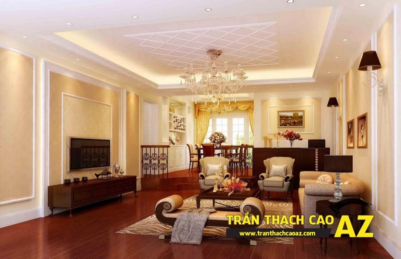 Mẫu trần thạch cao phòng khách nhà ống theo kiểu trần giật cấp cổ điển - tân cổ điển 01
