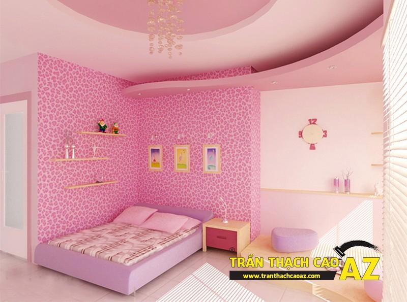 Mẫu trần thạch cao phòng ngủ bé gái đẹp 'ngập màu hồng' 08