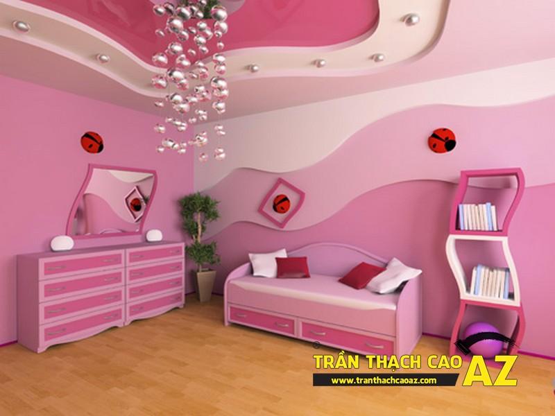 Mẫu trần thạch cao phòng ngủ bé gái đẹp 'ngập màu hồng' 07