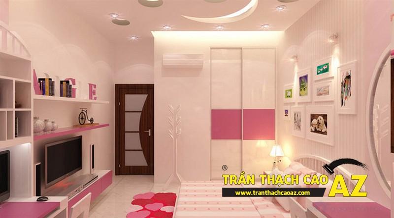 Mẫu trần thạch cao phòng ngủ bé gái đẹp 'ngập màu hồng' 06