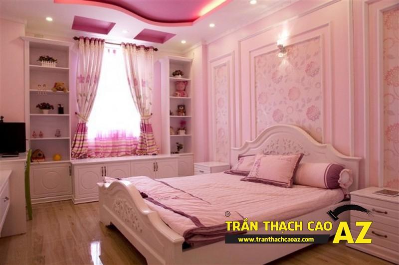 Mẫu trần thạch cao phòng ngủ bé gái đẹp 'ngập màu hồng' 03