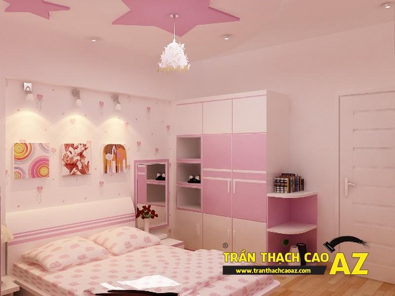 Mẫu trần thạch cao phòng ngủ bé gái đẹp 'ngập màu hồng' 02