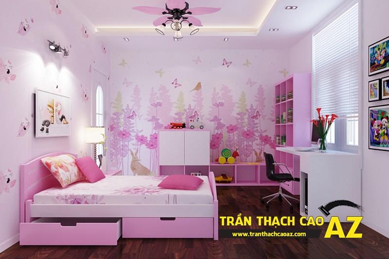 Mẫu trần thạch cao phòng ngủ bé gái đẹp 'ngập màu hồng' 01