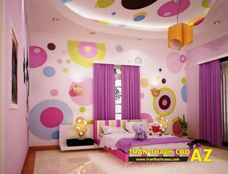 Mẫu trần thạch cao phòng ngủ bé gái đẹp 'ngập màu hồng' 04
