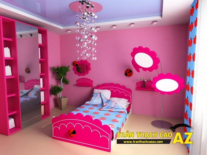 Mẫu trần thạch cao phòng ngủ bé gái đẹp 'ngập màu hồng' 09