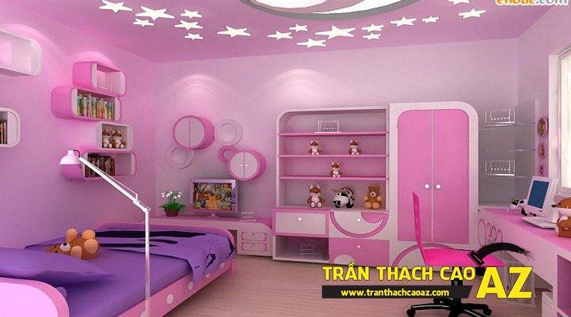 Mẫu trần thạch cao phòng ngủ bé gái đẹp 'ngập màu hồng'