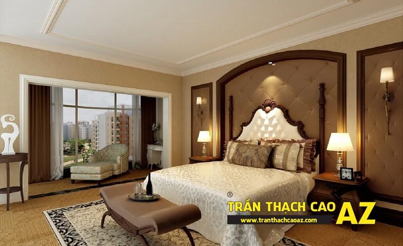 Mẫu trần thạch cao phòng ngủ vợ chồng đẹp tạo hình theo kiểu trần phẳng 03