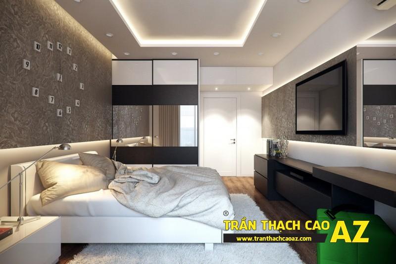 Mẫu trần thạch cao phòng ngủ vợ chồng đẹp tạo hình theo kiểu trần giật cấp 02