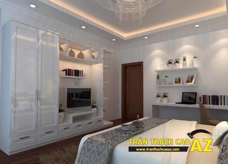 Mẫu trần thạch cao phòng ngủ vợ chồng đẹp tạo hình theo kiểu trần giật cấp 01