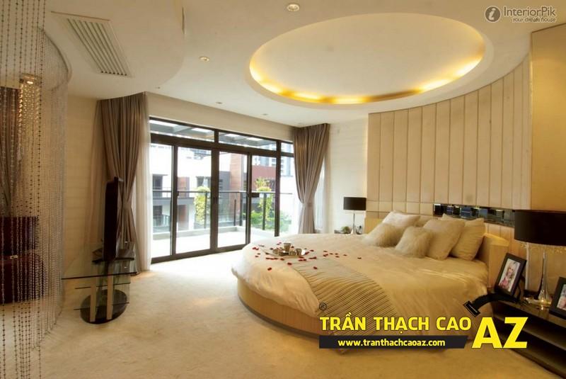 Mẫu trần thạch cao phòng ngủ vợ chồng đẹp tạo hình theo kiểu trần giật cấp 03