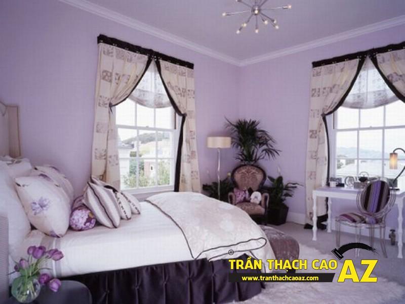 Mẫu trần thạch cao phòng ngủ vợ chồng đẹp tạo hình theo kiểu trần phẳng 01