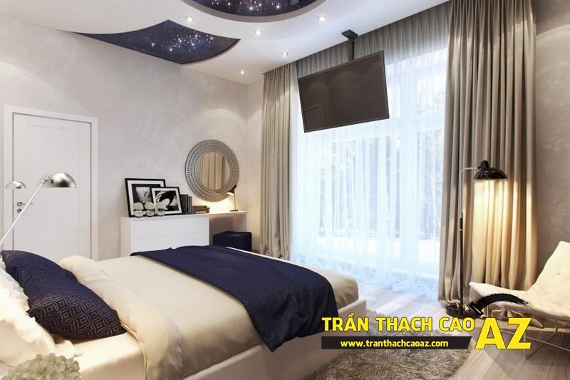 Mẫu trần thạch cao phòng ngủ vợ chồng đẹp tạo hình theo kiểu trần giật cấp 08