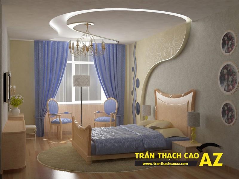 Mẫu trần thạch cao phòng ngủ vợ chồng đẹp tạo hình theo kiểu trần giật cấp 07