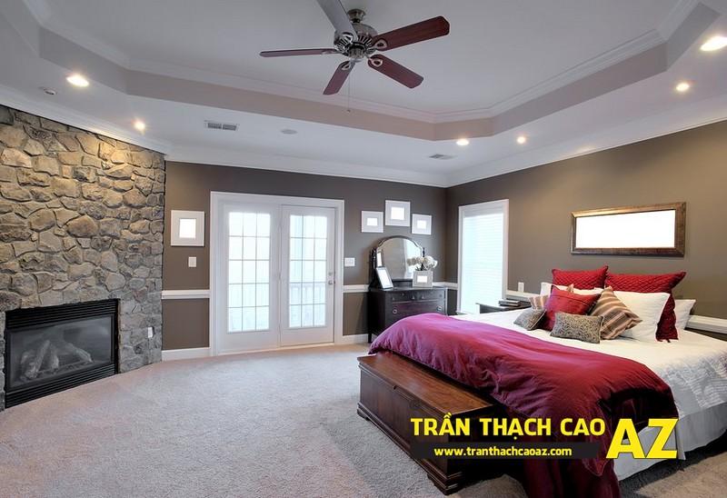Mẫu trần thạch cao phòng ngủ vợ chồng đẹp tạo hình theo kiểu trần phẳng 06