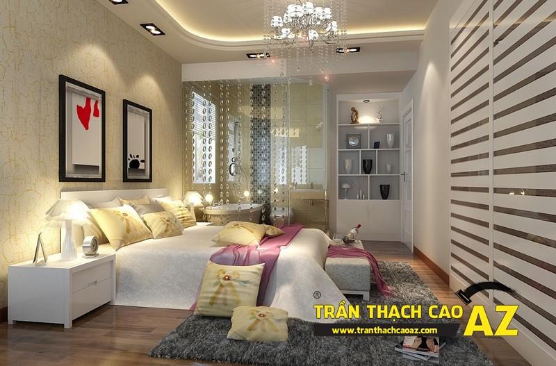 Mẫu trần thạch cao phòng ngủ vợ chồng đẹp tạo hình theo kiểu trần giật cấp 06
