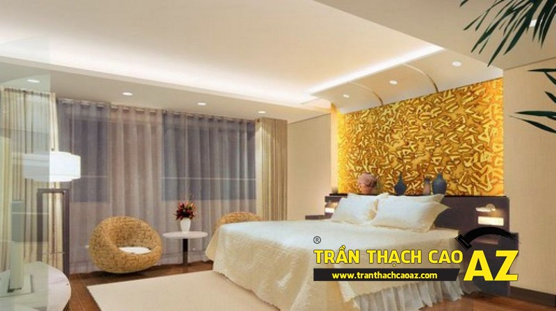 Mẫu trần thạch cao phòng ngủ vợ chồng đẹp tạo hình theo kiểu trần giật cấp 04