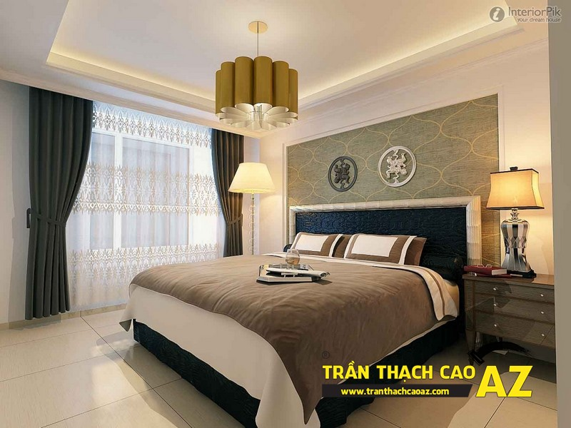 Mẫu trần thạch cao phòng ngủ vợ chồng đẹp tạo hình theo kiểu trần giật cấp 05