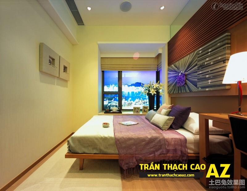 Mẫu trần thạch cao phòng ngủ vợ chồng đẹp tạo hình theo kiểu trần phẳng 05