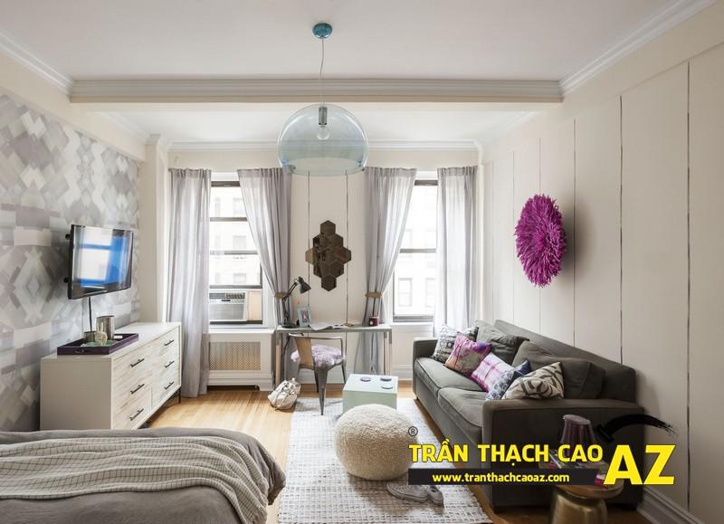 Mẫu trần thạch cao phòng ngủ vợ chồng đẹp tạo hình theo kiểu trần phẳng 04