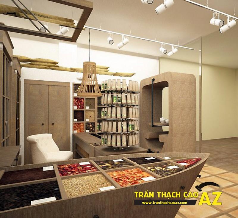 Mở rộng không gian quán cafe nhỏ với tạo hình trần thạch cao 02