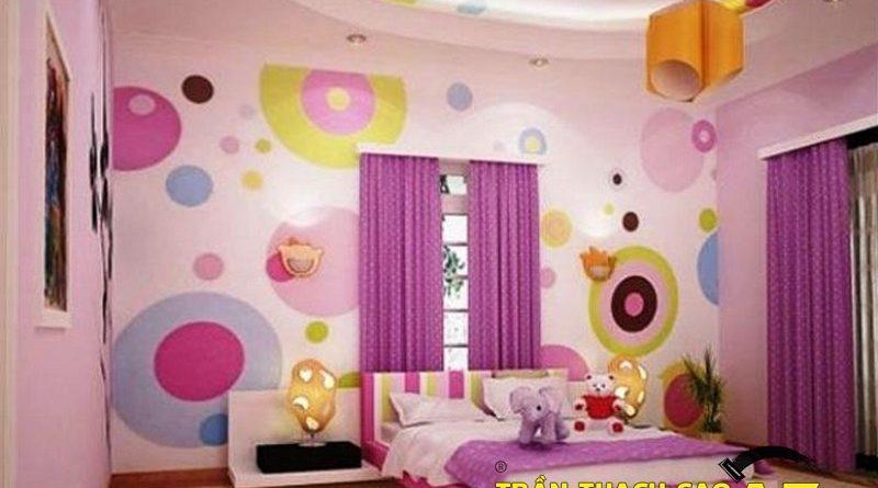 Nguyên tắc sử dụng hình khối ở trần thạch cao phòng ngủ trẻ em