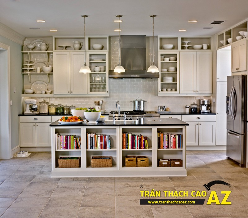Thiết kế nội thất phòng bếp đẹp hiện đại, an toàn nhờ tạo hình trần thạch cao chịu ẩm 02