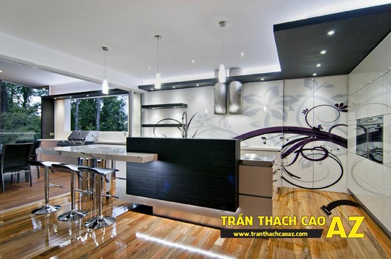 Phòng bếp nhỏ hiện đại nhờ tạo hình trần thạch cao phẳng 03