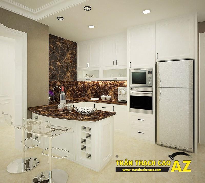 Phòng bếp nhỏ hiện đại nhờ sử dụng trần thạch cao phẳng và đèn led 02