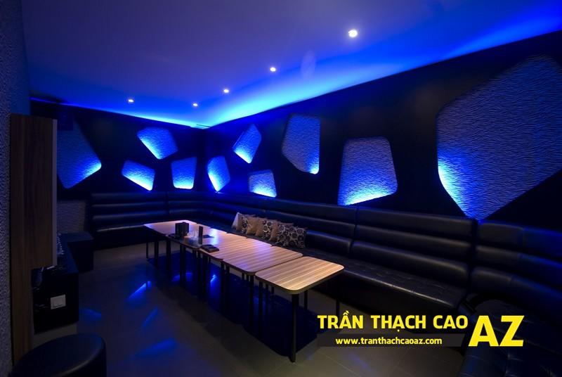 Không gian phòng hát đa sắc màu nhờ tạo hình trần thạch cao karaoke 01