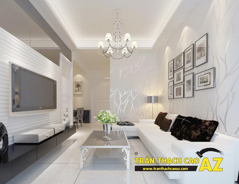 Phòng khách nhỏ đẹp hiện đại, tinh khôi với trần thạch cao màu trắng 01