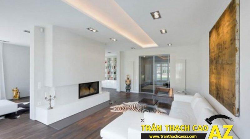 Phòng khách nhỏ đẹp hiện đại, tinh khôi với trần thạch cao màu trắng