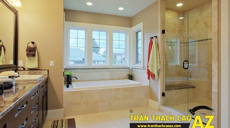 Phòng tắm hiện đại, đẳng cấp, sang trọng với tạo hình trần thạch caoPhòng tắm hiện đại, đẳng cấp, sang trọng với tạo hình trần thạch cao