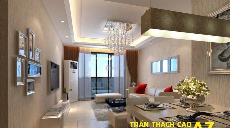 Mở rộng không gian nhờ tạo hình trần thạch cao phòng khách liền bếp