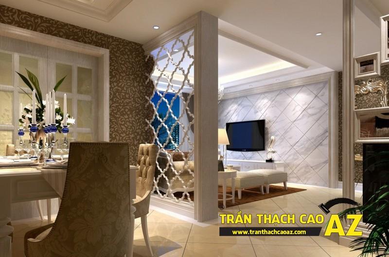Mở rộng không gian nhờ tạo hình trần thạch cao phòng khách liền bếp 01