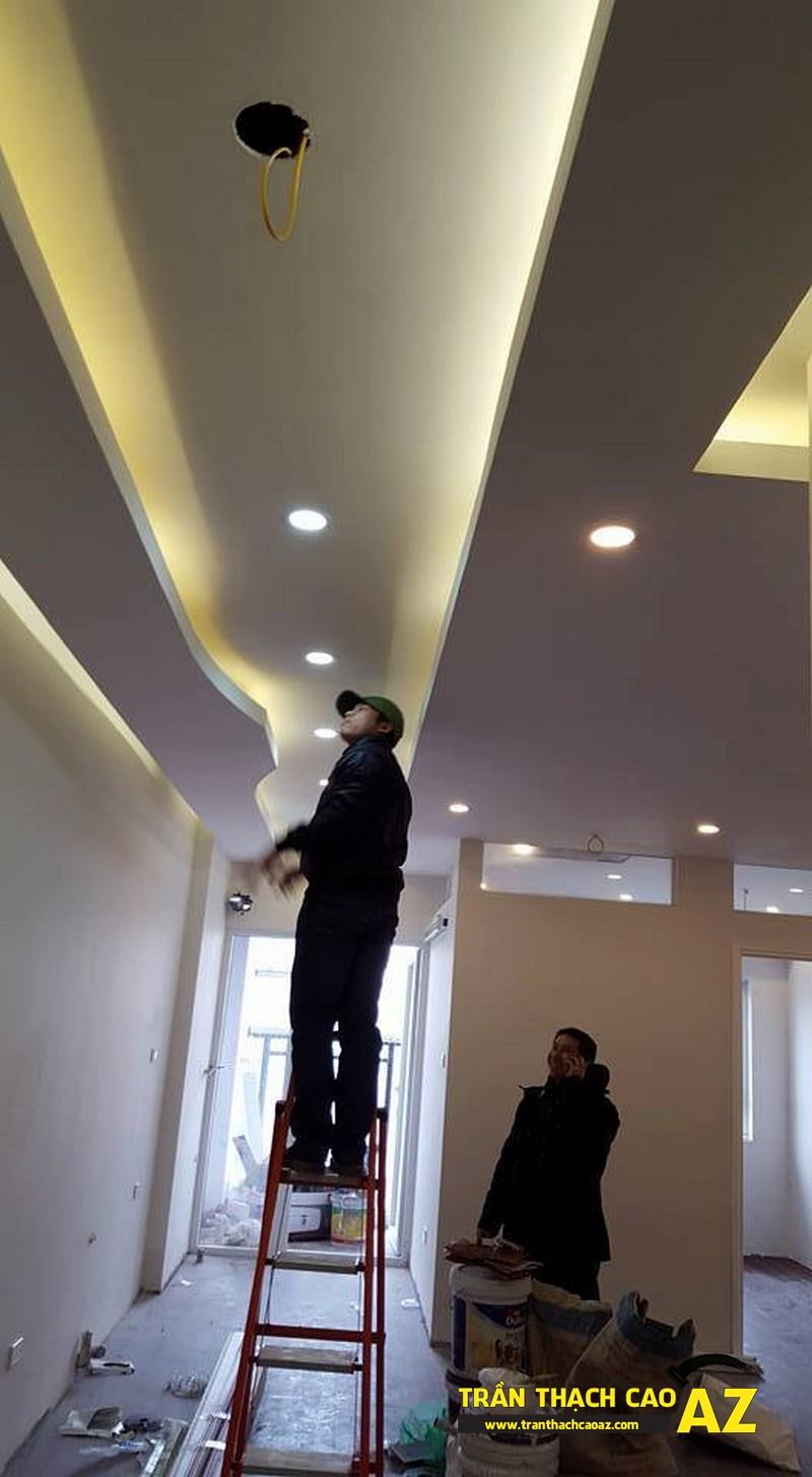 Hoàn thiện thi công trần thạch cao giật cấp đẹp hiện đại nhà anh Liêm 03