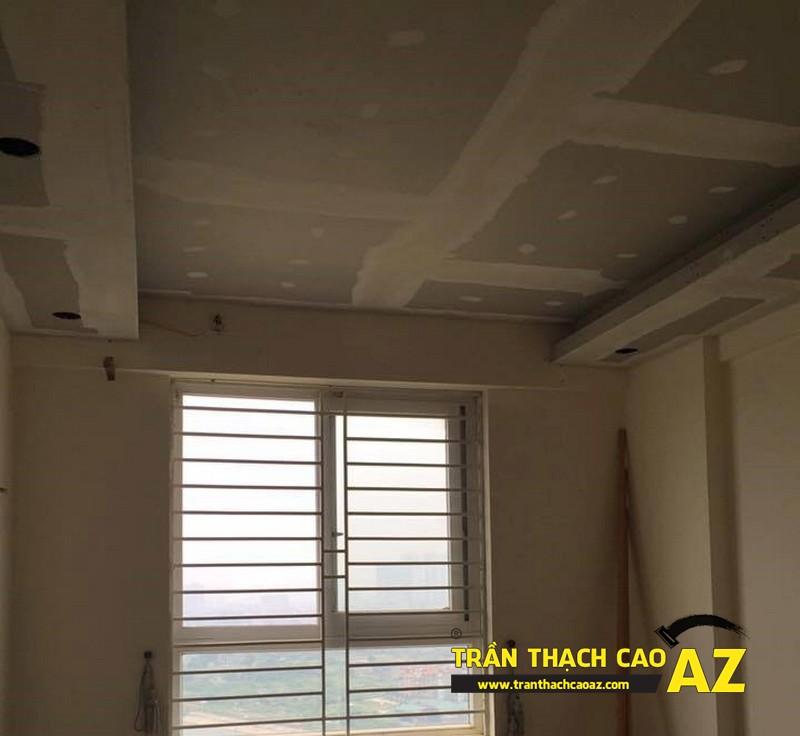 Thi công trần thạch cao phòng khách nhà anh Lâm theo kiểu trần giật cấp 01