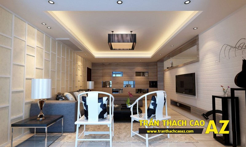 Trần thạch cao phòng khách đẹp phát hờn nhờ tạo hình trần giật cấp 02