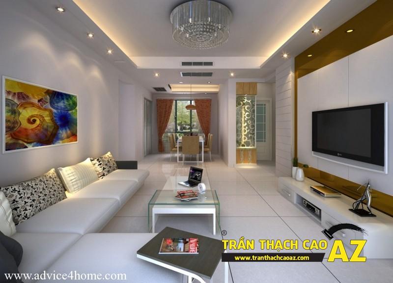 Trần thạch cao đơn giản mà đẹp cho không gian nhà nhỏ 01