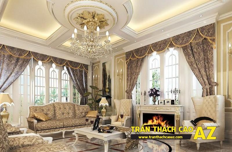 Trần thạch cao phòng khách cho nhà biệt thự