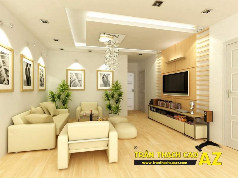 Trần thạch cao phòng khách hiện đại cho nhà ống