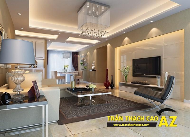 Trần thạch cao phòng khách đẹp phát hờn nhờ tạo hình trần giật cấp 01