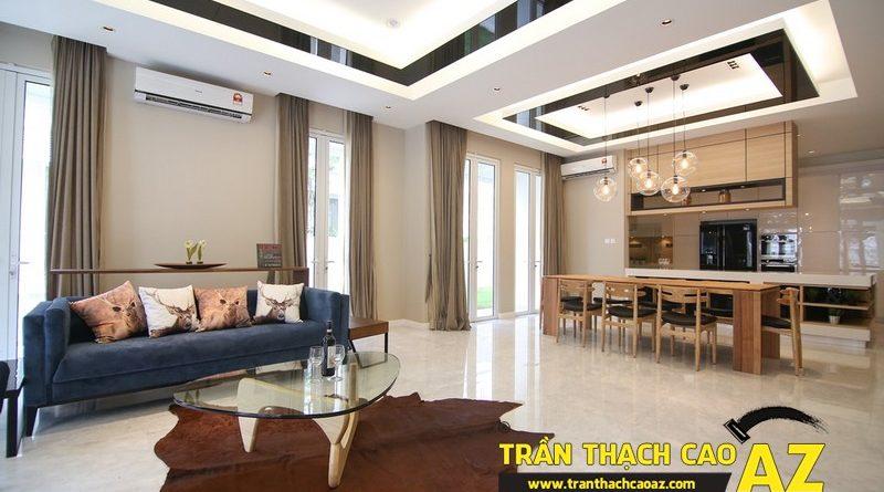 Trần thạch cao phòng khách đẹp phát hờn nhờ tạo hình trần giật cấp