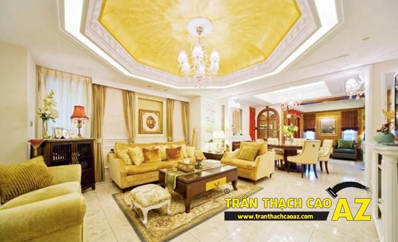 Trần thạch cao phòng khách đẹp sang trọng với phào chỉ hoa văn cổ điển 01