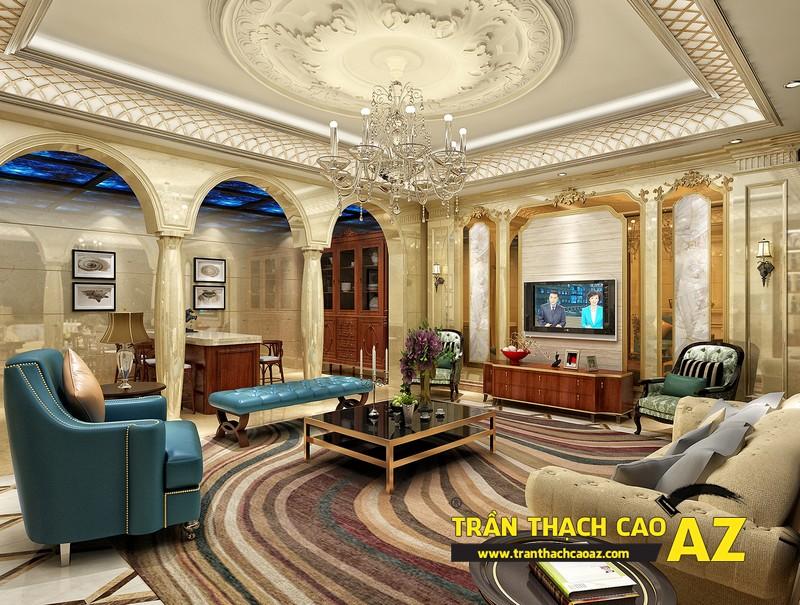 Trần thạch cao phòng khách đẹp sang trọng với phào chỉ hoa văn cổ điển 02