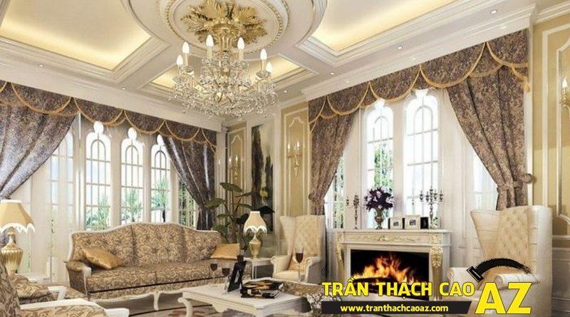Trần thạch cao phòng khách đẹp sang trọng với phào chỉ hoa văn cổ điển